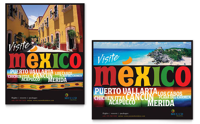 Mexico Travel Poster Template Design