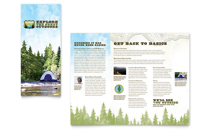 nature camping  u0026 hiking brochure template design