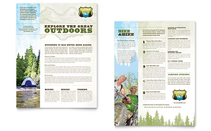 Nature Camping And Hiking Brochure Template Design By Stocklayouts