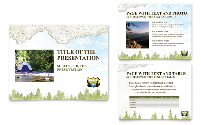 Nature Camping & Hiking PowerPoint Presentation Template Design