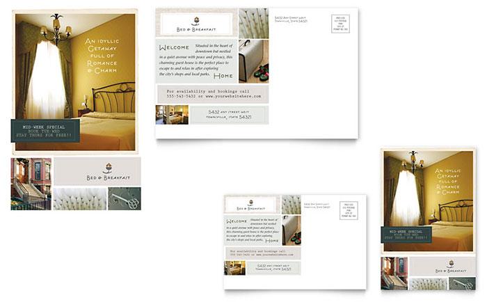bed  u0026 breakfast motel postcard template design