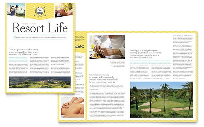 golf resort newsletter template design