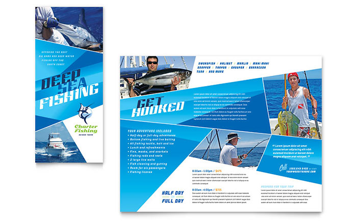 Fishing Charter Amp Guide Brochure Template Design