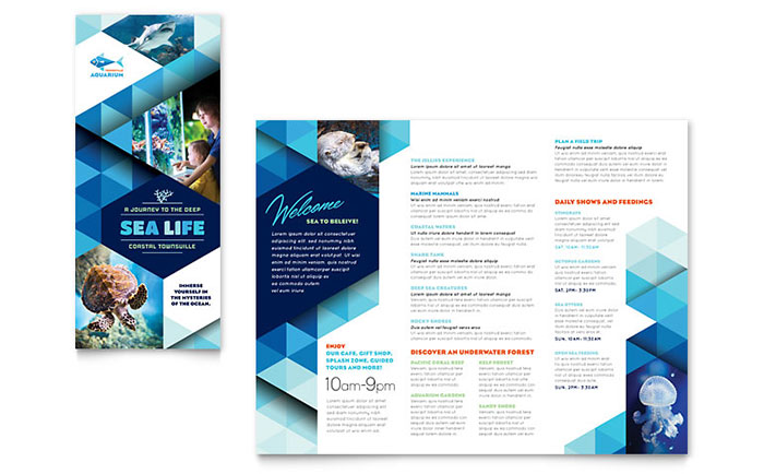 Ocean aquarium brochure template design for Travel brochures templates