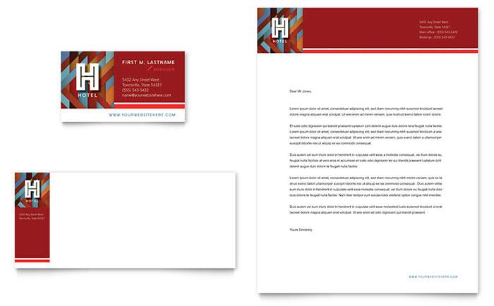 Hotel Business Card Amp Letterhead Template Design