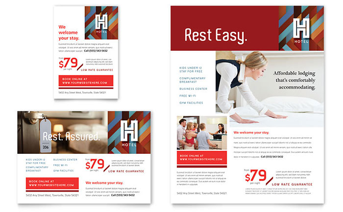 Hotel flyer ad template design for Hotel brochure templates free download