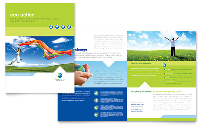 Green living recycling brochure template design for Pdf brochure design templates