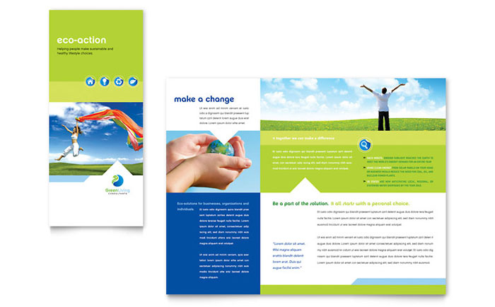 Green living recycling tri fold brochure template design for Tri fold brochure template powerpoint