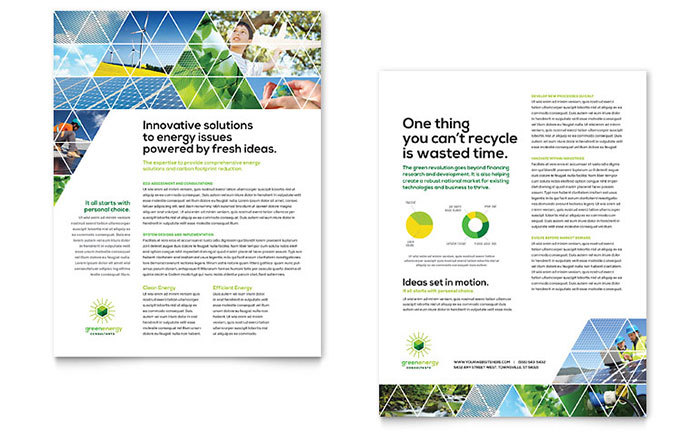Green energy consultant datasheet template design for Sales slick template
