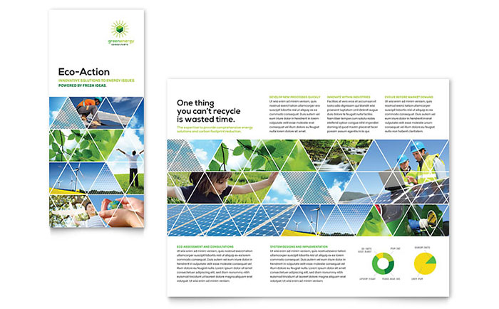 environment brochure template - green energy consultant tri fold brochure template design