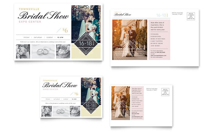 Bridal show postcard template design for 6x4 postcard template