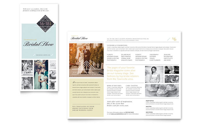 Bridal show tri fold brochure template design for Tri fold brochure publisher template
