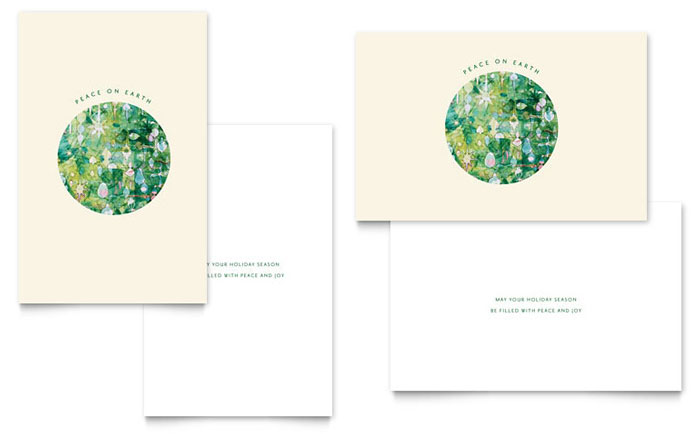 Peace On Earth Greeting Card Template Design