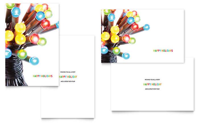 Christmas Lights Greeting Card Template Design