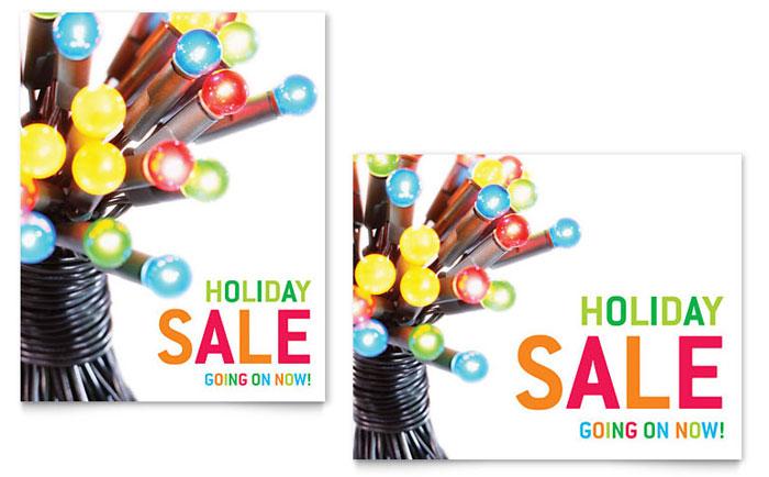 Christmas Lights Sale Poster Template Design