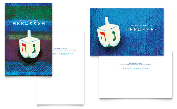 Hanukkah Dreidel Greeting Card Template Design
