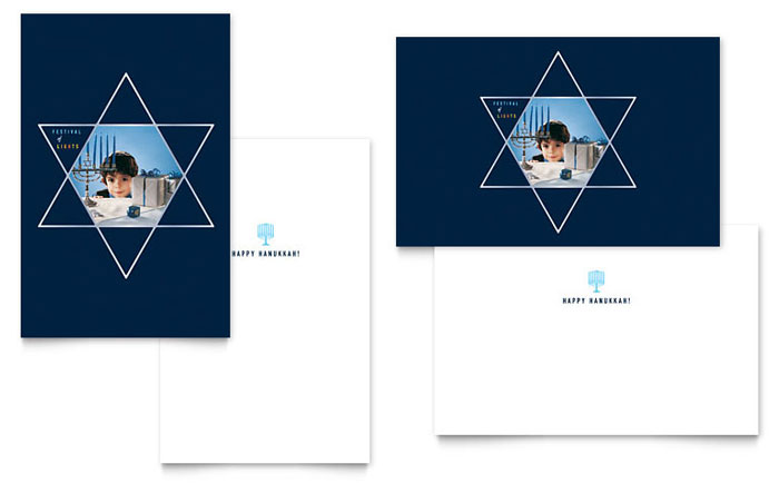 Star of David Greeting Card Template Design