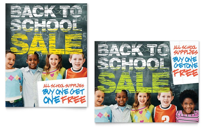 Back to School Sale Poster Template Design