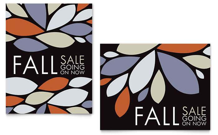 Contemporary Leaves Sale Poster Template Design