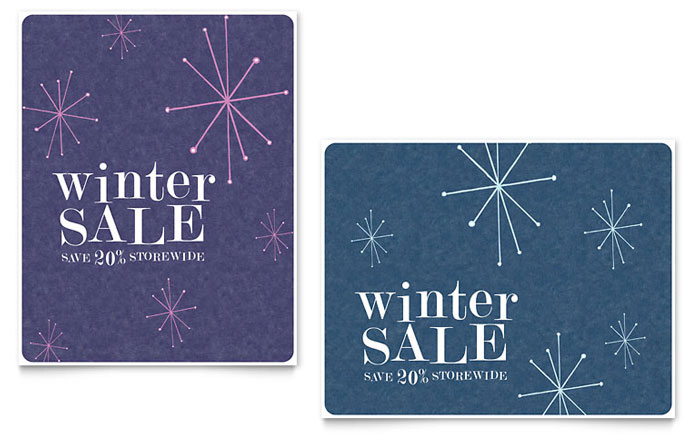 Snowflake Wishes Sale Poster Template Design