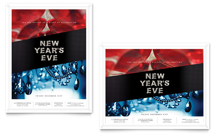 New Year's Eve Party Poster Template Design
