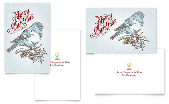 Vintage Bird Greeting Card Template Design