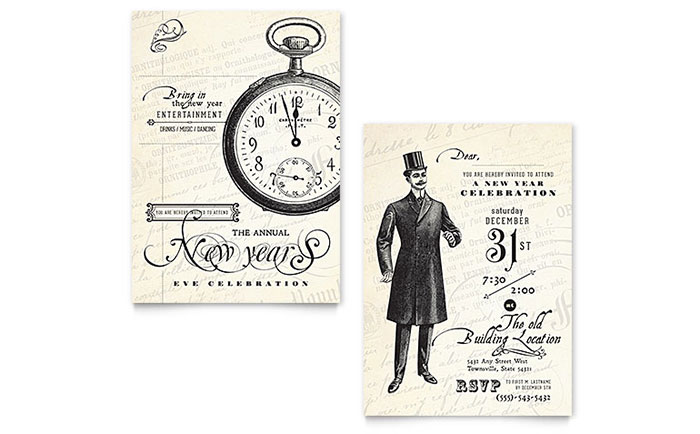 vintage new year 39 s party invitation template design. Black Bedroom Furniture Sets. Home Design Ideas