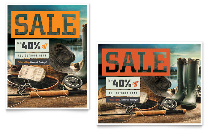Fishing gear sale poster template design for Rei fishing gear
