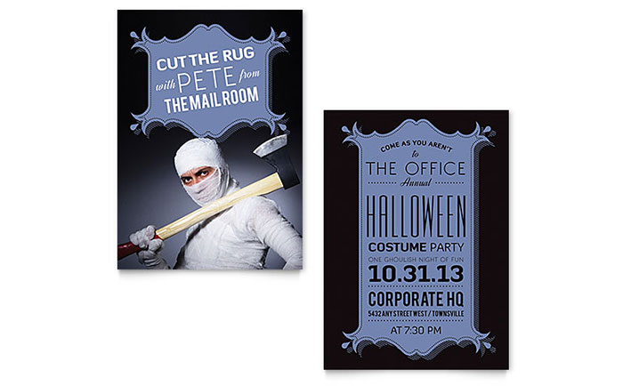 Halloween Costume Party Invitation Template Design