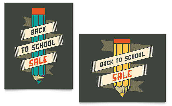 Back to School Supplies Sale Poster Template Design