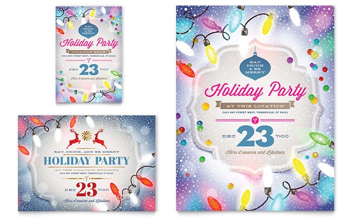 Holiday Party Flyer Template Design