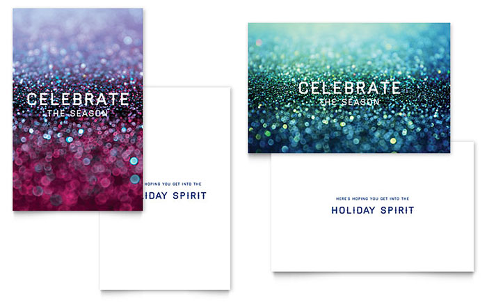 Glittering Celebration Greeting Card Template Design