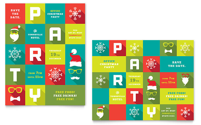 publisher save the date templates - work christmas party poster template design