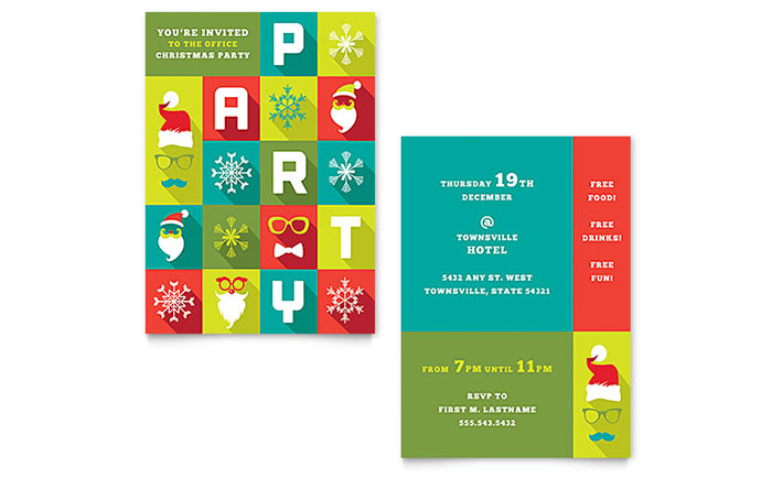 Work Christmas Party Invitation Template Design