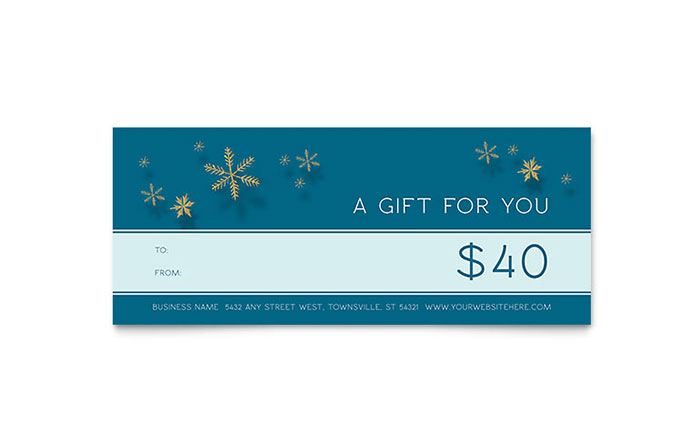 Golden Snowflakes Gift Certificate Template Design