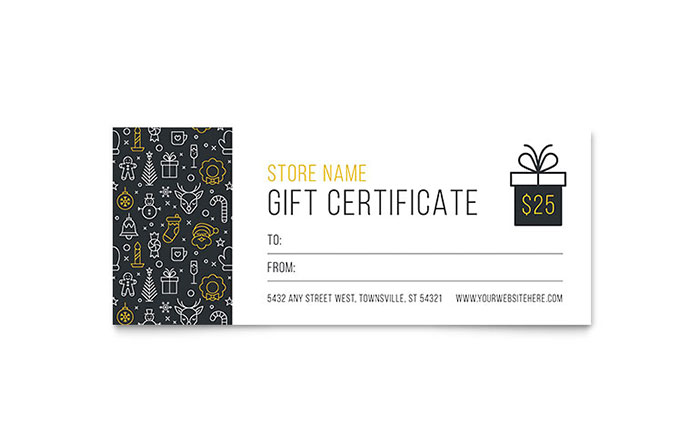christmas wishes gift certificate template design