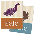 Thanksgiving Cornucopia & Turkey - Sale Poster Template Design Sample