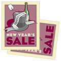 New Year's Champagne - Sale Poster Template Design Sample