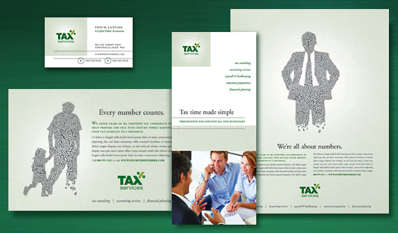Accounting & Tax Services Brochure, Postcard, Newsletter, Flyer & Ads, Tri-Fold Brochure, and Stationery Designs