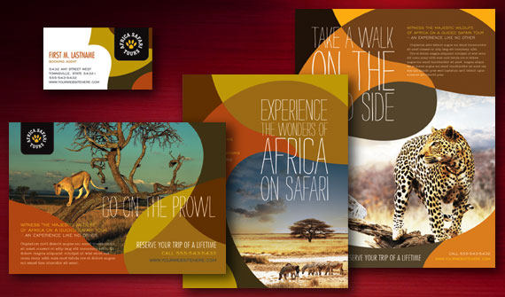 Africa Safari Brochure, Poster, Flyer & Ads, and Stationery Designs