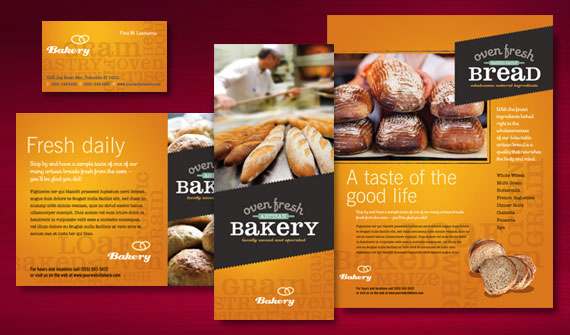 Artisan Bakery Menu, Flyer & Ads, Take-Out Brochure, Posters, and Stationery Designs