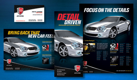 Auto Detailing Brochure, Postcard, Flyer & Ads, and Stationery Designs