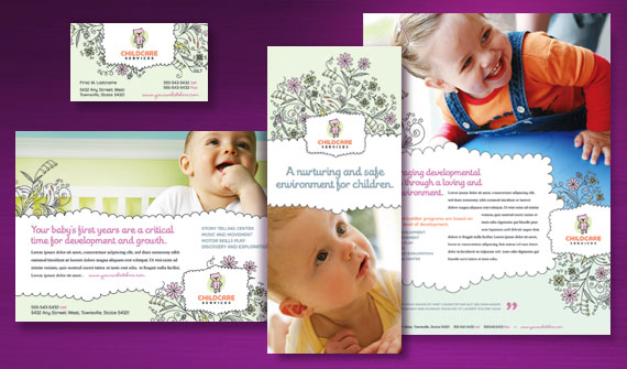 Child Care Brochure, Newsletter, Flyer, Ads, and Letterhead Template Designs