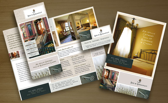 Bed & Breakfast Brochure Postcard, Stationery and Flyer & Ads Designs