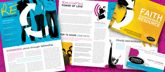 Church Ministry Brochure, Postcard, Newsletter, Poster, and Stationery Designs