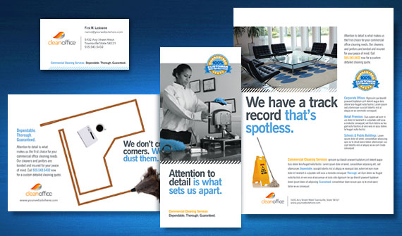 Commercial Office Cleaning Janitorial Brochure, Flyer, Postcard Marketing Materials