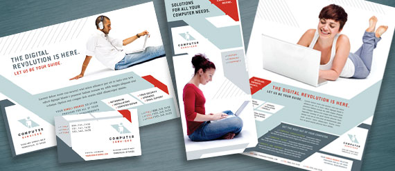 Computer Solutions Business: Brochure, Newsletter, Stationery, and Flyer & Ad Designs