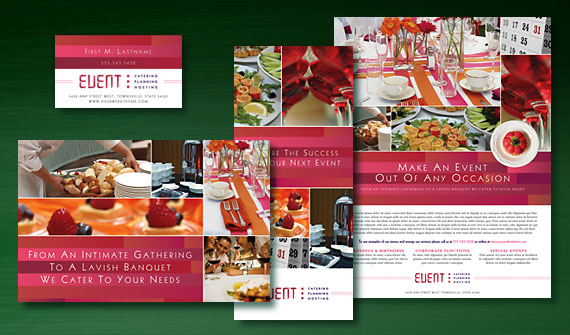 Corporate Event Planner & Caterer Brochure, Postcard, Stationery, Flyer & Ads, and Tri Fold Brochure Designs