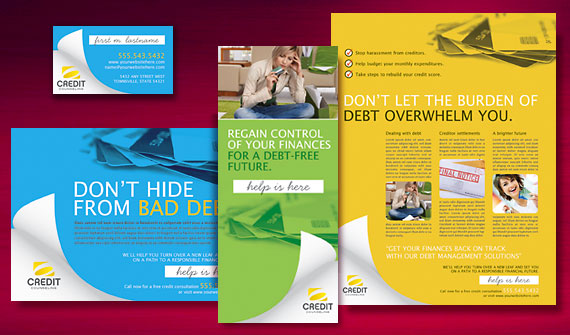 Credit Counselor Brochure, Postcard, Flyer & Ads, and Stationery Designs