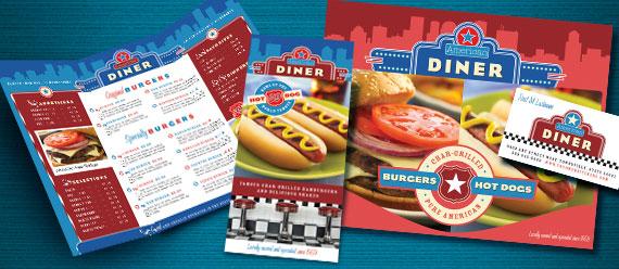 American Diner Restaurant Menu, Brochure, Poster, Flyer & Ad and Stationery Designs